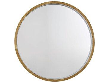 Miroir lumineux rond en chêne D90