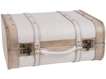 Valise vintage blanche clous dorés