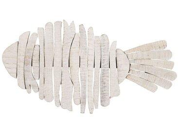 Déco murale poisson en manguier blanc L.77cm NOUMEA