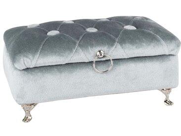 Boîte à bijoux capitonnée bleu clair et métal argenté