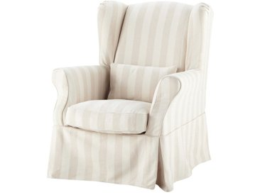 Housse de fauteuil à rayures en coton beige Cottage