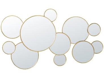 Miroirs ronds en métal doré 106x63