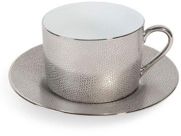 Tasse et soucoupe à thé en porcelaine argent ÉCAILLE SAUVAGE