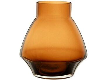 Vase en verre teinté marron H17