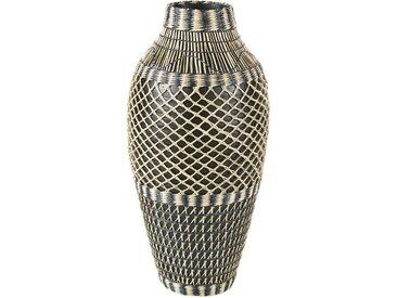 Vase en bambou noir et blanc H60