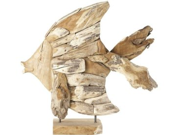 Statue poisson en teck H76