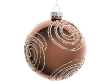 Boule de Noël en verre teinté cuivré motifs spirales à paillettes