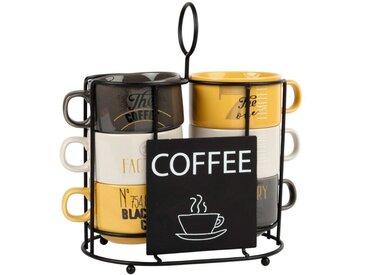 Tasses à café en porcelaine (x6) et support en métal noir