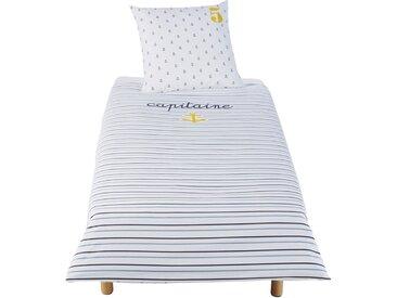 Parure de lit enfant en coton blanc et bleu imprimé 140x200