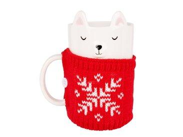 Mug ours en faïence blanche et pull en laine rouge