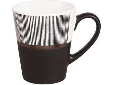 Tasse en faïence blanche et noire motifs à rayures