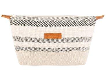 Trousse de toilette en coton et lin beige et noire motifs à rayures