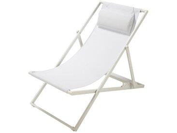 Chaise longue / chilienne pliante en métal blanc Split
