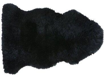 Tapis en peau de mouton noire 55x90