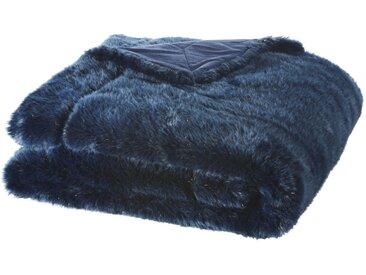 Plaid imitation fourrure bleu nuit 150x180