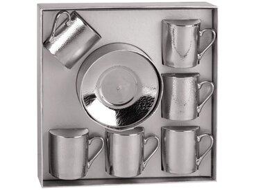 Coffret 6 tasses à café avec soucoupes en porcelaine argentées SAUVAGE