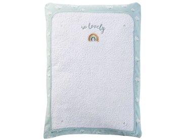 Matelas à langer bébé en coton blanc, gris et bleu imprimé