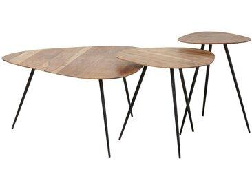 Tables gigognes en acacia et métal noir Gingerall