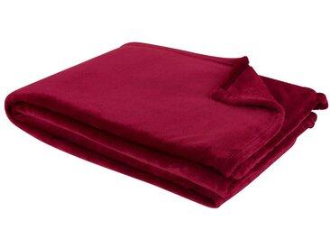 Plaid imitation fourrure rouge cerise 130x180