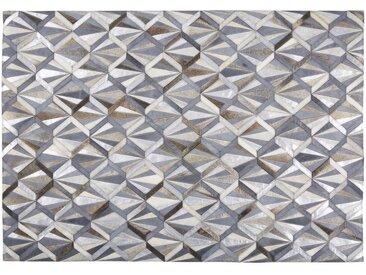 Tapis en cuir de vache gris anthracite motifs graphiques 160x230