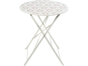 Table de jardin pliante en métal blanc 2 personnes D58 Guinguette