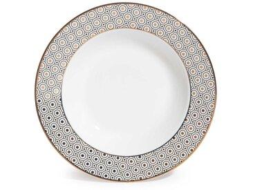Assiette creuse en porcelaine blanc/doré KATE