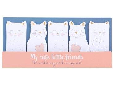 Stickers marque-pages chats blancs, roses et dorés (x5)