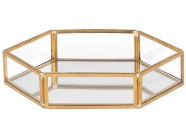 Coupelle hexagonale à bijoux en miroir et métal doré