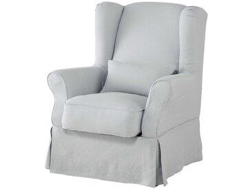 Housse de fauteuil en lin lavé bleu glacier