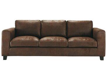 Canapé-lit 3 places en suédine marron Kennedy