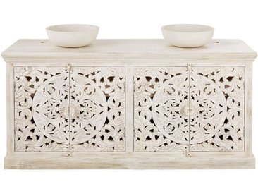 Meuble double vasque en manguier massif sculpté blanc effet vieilli Kerala