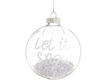 Boule de Noël en verre imprimé et sequins blancs