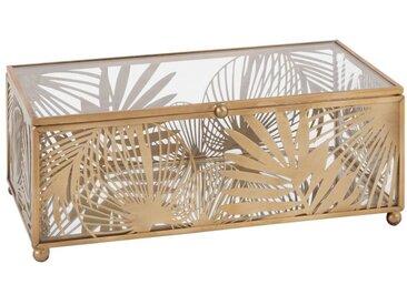 Boîte à bijoux en verre et métal ajouré doré