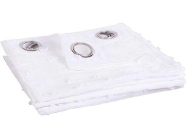 Rideau voilage à illets blanc à pompons 140x250