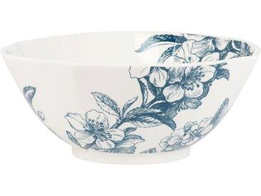 Saladier en faïence blanche et bleu imprimé floral