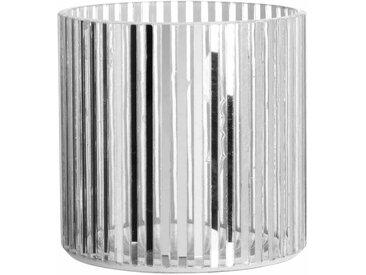 Photophore en verre strié argenté et transparent