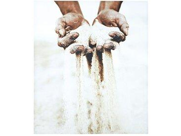 Toile blanche et grise imprimé mains 110x130