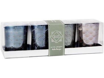 Bougies lumignons parfumées en verre gris motifs graphiques (x4)
