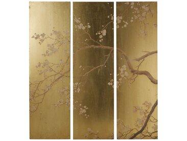 Déco murale triptyque doré imprimé floral108x120