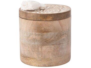 Boîte en manguier et couvercle sculpté