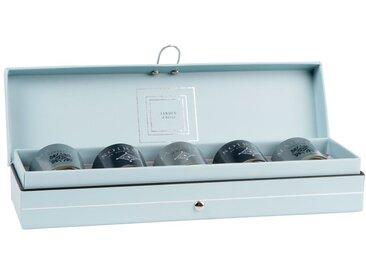 Coffret 5 mini bougies parfumées en verre bleu, vert et gris