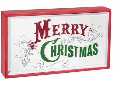 Miroir lumineux de Noël imprimé rouge et vert 21x12