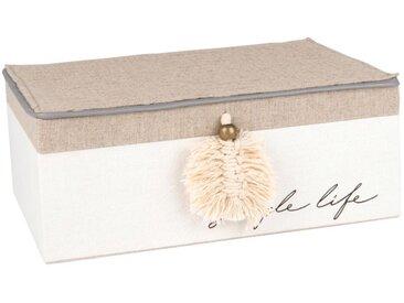 Boîte à bijoux beige et blanche