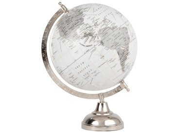 Globe terrestre carte du monde en métal gris