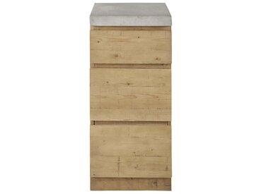 Meuble bas de cuisine 1 porte 1 tiroir en épicéa et béton L40 Milos