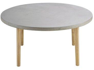 Table basse de jardin ronde en béton et acacia massif Wes