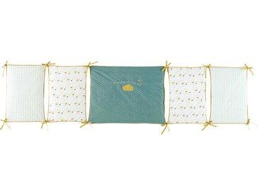 Tour de lit bébé en coton blanc, bleu et jaune moutarde