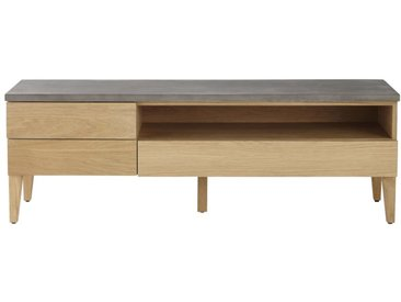 Meuble TV 3 tiroirs en chêne massif et béton Grey