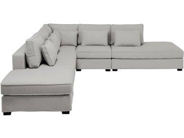 Méridienne droite de canapé en coton gris clair Milano