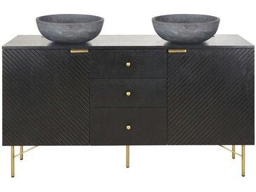 Meuble double vasque 2 portes 3 tiroirs noir Jagger